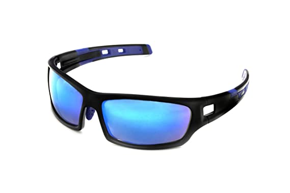 mens sport sunglasses a4kc  Hot Optix Men's Sport Sunglasses with Colored Mirror Lens, Black Frame/  Blue Mirror Lens