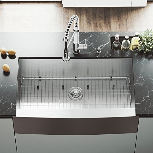 (VIGO VG3620CK1 36 Inch Single Bowl 16 Gauge Stainless Steel Commercial Grade Farmhouse Apron Front Kitchen Sink, Rounded Corners and SoundAbsorb Technology)