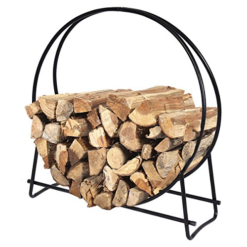 Firewood Log Rack Hoop Tubular Steel Wood Storage Holder for Indoor & Outdoor (40 Inch) by Goplus