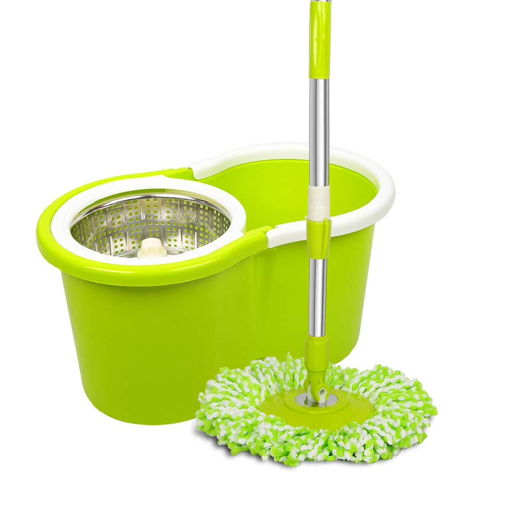 Linbing123 Microfiber Spin Mop,Bucket Floor Cleaning System-with 3 Microfiber Mop Heads-Double Drive Rotary mop,Stainless Steel Tube, pp Material Handle