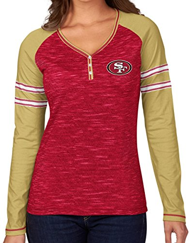 (Majestic San Francisco 49ers Women's NFL Lead Play Long Sleeve Henley Shirt)