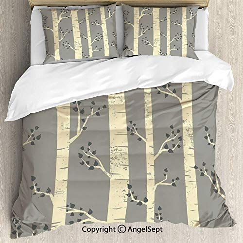 AngelSept Bedding 3-Piece Set Duvet Cover Set,Birch Tree Branches Vintage Bohemian Contemporary Illustration of Nature,Queen Size,1 Quilt Cover 2 Pillow Shams,Warm Taupe Pale Yellow (Duvet Tree Birch)