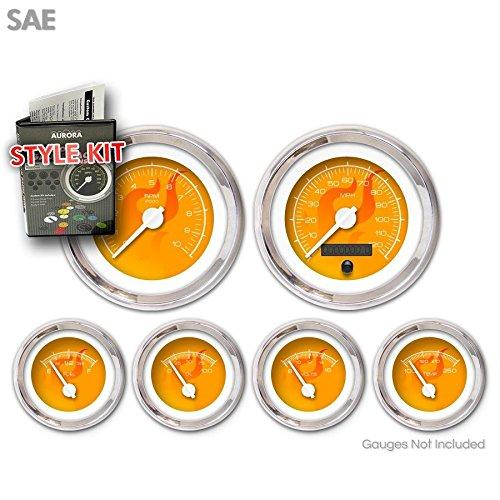 Aurora Instruments 1747 Ghost Flame Orange SAE Style Kit White Modern Needles, Chrome Trim Rings
