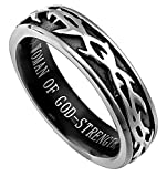 Women of God Crown of Thorns Black & Silver Ring With Verse (Prob 31) in Gift Bag (6)