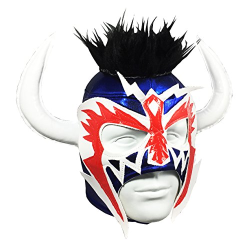 PSICOSIS Adult Lucha Libre Wrestling Mask (pro-fit) Costume Wear - Blue/White/Red