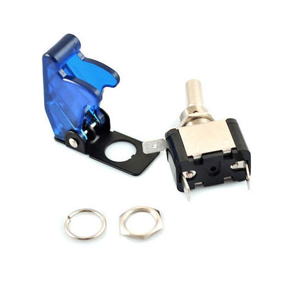 blue 1Pcs Qiorange DC 12V 20A Racing Car Vehicle Blue LED Lights Cover Toggle Switches
