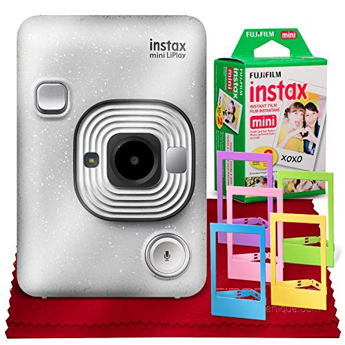 Fujifilm INSTAX Hybrid Mini LIPLAY (Stone White) + Fujifilm Instax Mini Instant Film (20 Shots) + Accessory Bundle (USA Warranty)