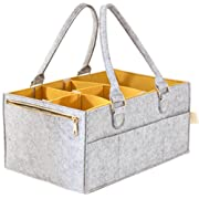 Baby Diaper Caddy and Changing Pad | Nursery, Changing Table Organizer, New Born Registry Must-Haves | Storage Basket, Box, Tote | Baby Shower Gift | Portable Car Travel | Unisex Girl, Boy (Yellow)