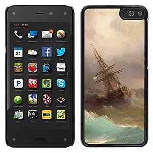 // PHONE CASE GIFT // Duro Estuche protector PC Cáscara Plástico Carcasa Funda Hard Protective Case for Amazon Fire Phone / Storm Painting Sailing Art Waves /