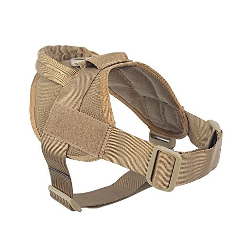 "yisibo Service Dog Vest Harness No-Pull Nylon K9 Patrol Military Training Dog Vest with Handle(S(20""-27"" Chest Girth),Coyote Brown)"