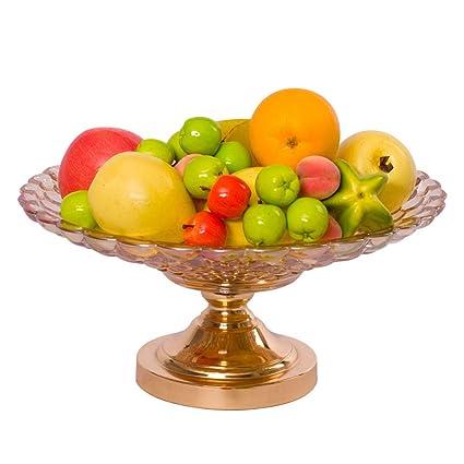 Jlxl Frutero, Tazón Frutas Plato Vaso Artesanía Plato Europeo Atmósfera Ámbar para Decoración Grande Oro