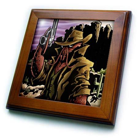 3dRose Travis ECK - Art - Crawfish Cowboy in a Post Apocolyptic World - 8x8 Framed Tile (ft_317505_1) (World Framed Tile)