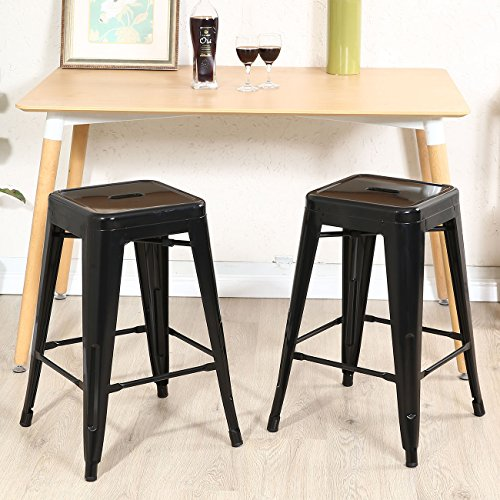 Antique Vintage Style Set of (2) Metal Steel Bar Stools 24 Inch Which Complete Your Home And Create a Casual Bar Design - Sports Uk Co Gay