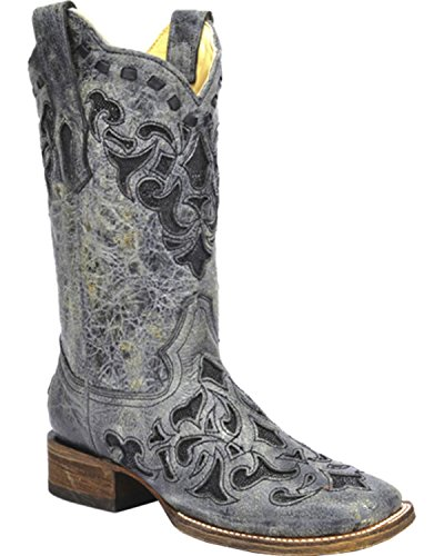 Corral Women's Stingray Inlay Cowgirl Boot Square Toe Black 8 M US (Boots Stingray Cowgirl)