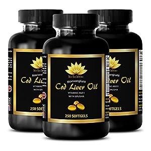 Nervous System Support Norwegian COD Liver Oil Epa dha Supplements 3 Bottles 750 softgels