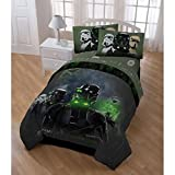 5pc Boys Black Green Star Wars Movie Comforter Twin Set, Character Imperial Storm Trooper Themed Geometric Pattern, Starwars Rogue One 1 Stormtrooper Graphic Bedding, Olive Lime Brown