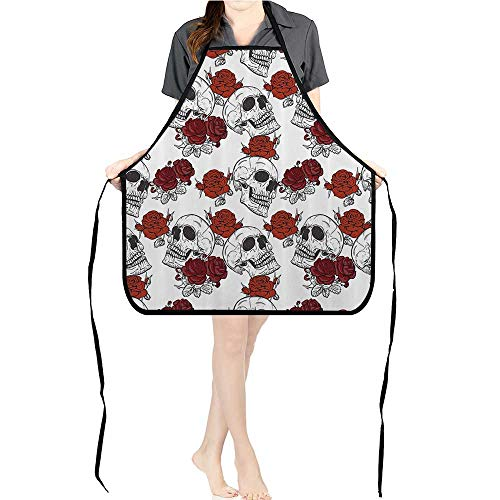 Jiahong Pan Adult Apron Waitresses Apron Retro Gothic Dead Skelet Figures with Rose Halloween Spooky Trippy Romantic Cooking Kitchen Aprons for Women MenK17.7xG26.6xB9 ()