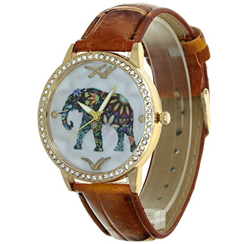 Dial Brown Dress (Designer Lady Watches Elephant Pattern Printed Arabic Numerial Hour Pointers Dial Rhinestone Case Convex Prism Crysal Women Japanese Quartz Analog Fashion Stylish Casual Dress Wristwatch Girls)
