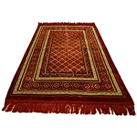 Best Quality Velvet Islamic Prayer Rug Janamaz Sajjadah Muslim Namaz Seccade Turkish Prayer Rug (Red)