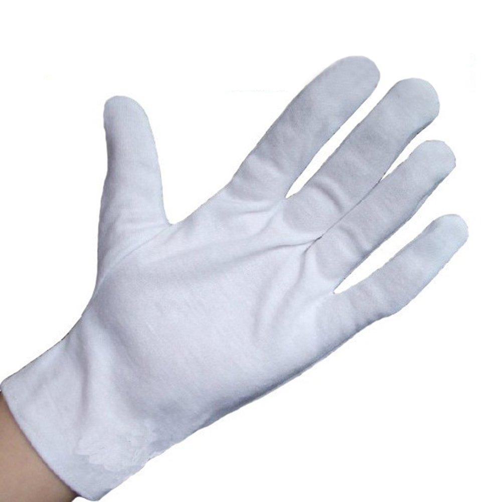 Wowlife White Soft Cotton Gloves Lightweight Gloves film, coins, CD/DVD,Etiquette, Work Gloves (48)