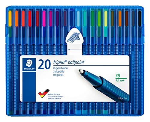 (Staedtler Triplus Ball Ballpoint Pen Ergonomic Triangular Shape Made in Germany Set of 20 Brilliant Colours Line Width XB 437 Xbsb20)