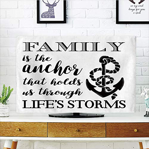 iPrint LCD TV dust Cover Strong Durability,Family,Family is Anchor That Holds Us Inspiration Stylized Writing Anchor with Rope,Black and White,Picture Print Design Compatible 65