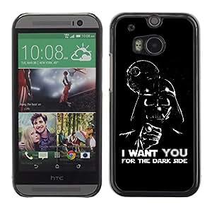 Qstar Arte & diseño plástico duro Fundas Cover Cubre Hard Case Cover para HTC One M8 ( Dark Side Quote Angel Devil Art Villain Alien)