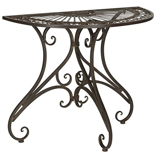 Half Round Iron - Safavieh Outdoor Collection Annalise Rustic Brown Accent Table