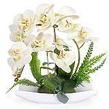 YOBANSA Orchid Bonsai Artificial Flowers with Imitation Porcelain Flower Pots Phalaenopsis Fake Flowers Arrangements for Home Decoration (White)