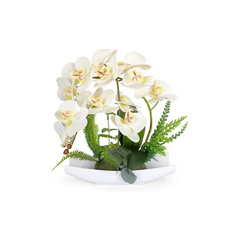 silk flower arrangements yobansa orchid bonsai artificial flowers with imitation porcelain flower pots phalaenopsis fake flowers arrangements for home decoration (white 1)