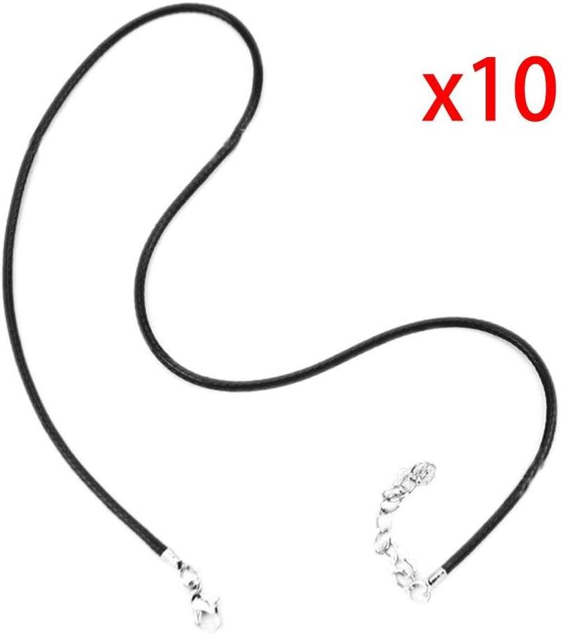 10pcs Collar del Corchete de la Langosta de la joyería de la Cuerda de la Correa de la PU de Cuero Negro Cuerda Cuerda Colgante Cordones Regard