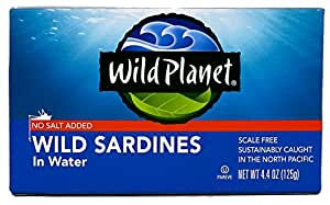 Wild Planet Sardines No Salt in Water, 4.4 Ounce (Pack of 12)