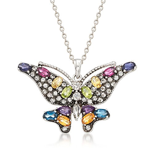Ross-Simons 4.60 ct. t.w. Multi-Stone Butterfly Pendant Necklace in Sterling Silver (Butterfly Stone Multi Pendant)