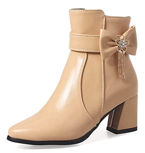 Unm Womens Trendy Faux Suede Zip Up Round Toe Booties Mid Chunky Heel Ankle Boots with Zipper
