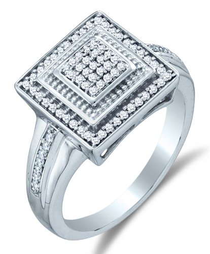 Pave Diamond Right Hand Ring - Size 8.5-10K White Gold Diamond Halo Engagement OR Fashion Right Hand Ring Band - Square Princess Shape Center Setting w/Micro Pave Set Round Diamonds - (1/5 cttw)
