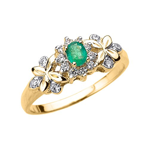 - Solid 14k Yellow Gold Diamond with Emerald Engagement Ring (Size 4.75)