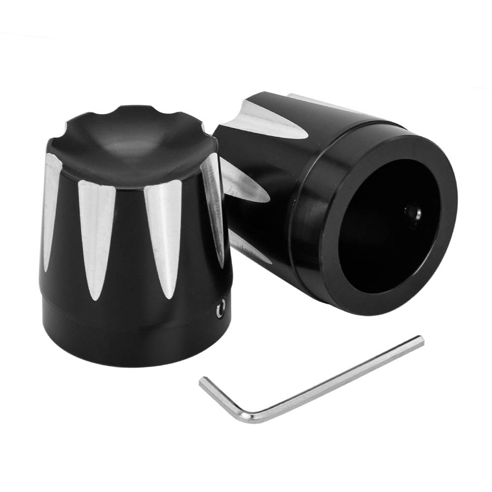 Amazicha Black Deep Cut Front Axle Nut Cover Axle Cap Kit for Harley Touring Dyna live4fun