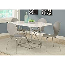 Monarch Specialties Glossy/Chrome Metal Dining Table, 36 by 48-Inch, White