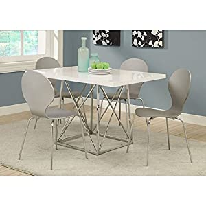 Monarch I 1046 36 By 48 Inch Dining Table White Glossy Chrome