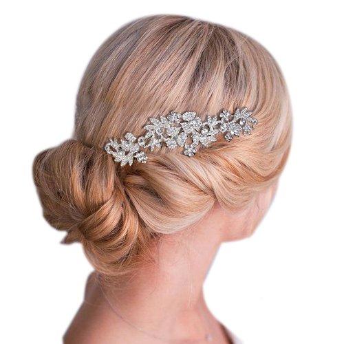 Clearine Femme Boh/ême Austrichien Cristal Fleur Feuillage Mariage Cheveux Peigne Bijour Claire