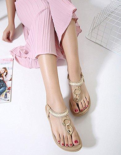 Minetom Mujer Verano Casual Bohemia Clip Toe Zapatos Dulce Diamante De Imitación Chanclas T-Correa Sandalias Tanga Pisos Albaricoque