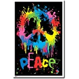 Peace Sign Poster Psychedelic Blacklight Drip 8233 Blacklight Poster Print, 22x34