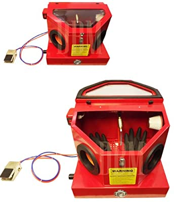 Portable Mini Abrasive Sand Blaster Blasting Cabinet Hands Free Air Sandblaster