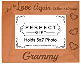 Cheap ThisWear Grandma Gifts Fell in Love When Became Grammy Natural Wood Engraved 5×7 Landscape Picture Frame Wood