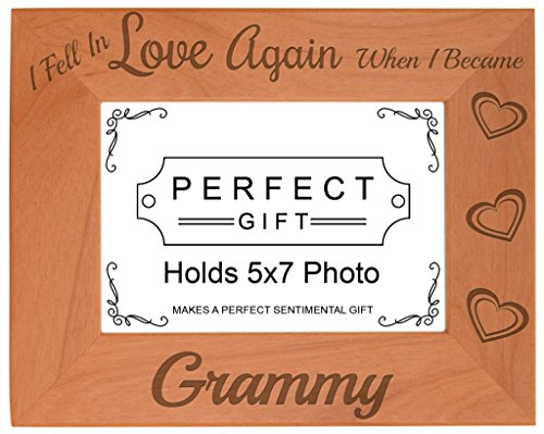 ThisWear Grandma Gifts Fell in Love When Became Grammy Natural Wood Engraved 5x7 Landscape Picture Frame Wood