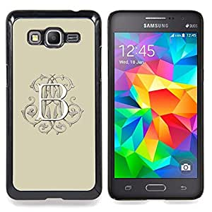 Eason Shop / Premium SLIM PC / Aliminium Casa Carcasa Funda Case Bandera Cover - Inicial Beige Caligrafía Blanca - For Samsung Galaxy Grand Prime G530H / DS