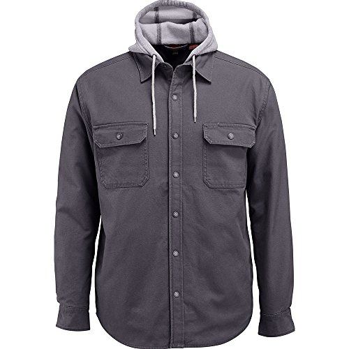 Wolverine Men's Overman Fleece Lined Cotton Duck Canvas Hooded Shirt Jacket, Granite, X-Large