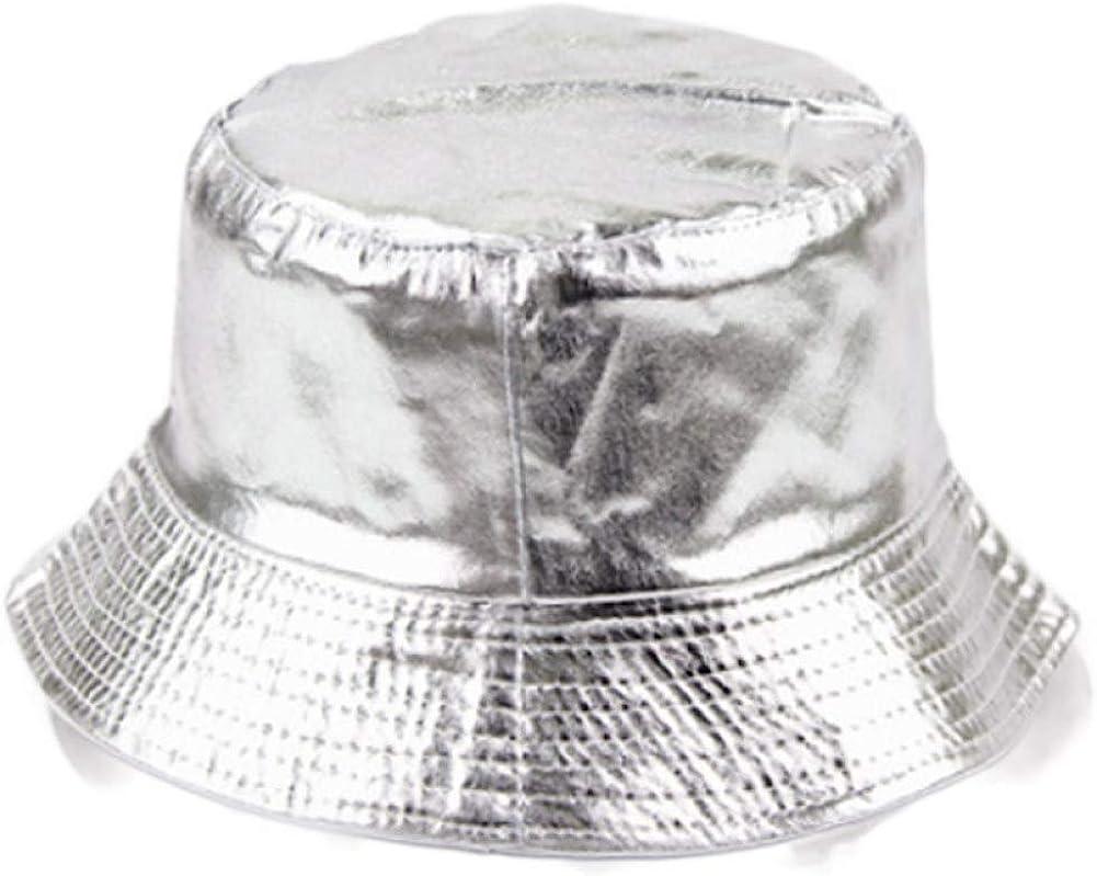 Unisex Oro Plata Cubo Sombrero Algodón Color sólido Plano Boonie ...
