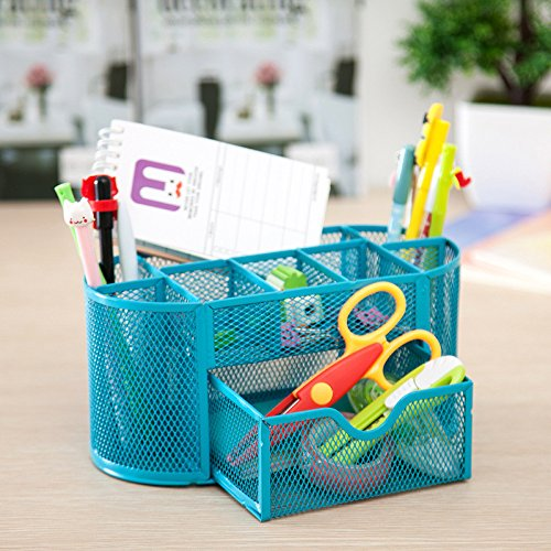 Jeash Storage Box ✿ Multi-Function Pen Pencils Mesh Holder Stationery Container Desk Tidy Organizer for Home School Office Decor (Blue) by Jeash (Image #3)