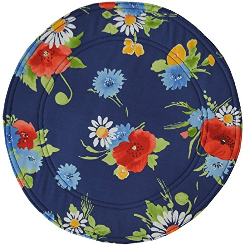 (Sweet Pea Linens Dark Blue Floral Charger-Center Round Placemat)
